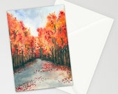 Autumn Landscape Painting Reproduction Art Card