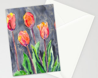 Orange Tulips Art Card - Floral Garden Watercolor Painting