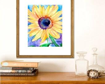 Sunflower Watercolor Painting - Vibrant Floral Flowers Fine Art Print