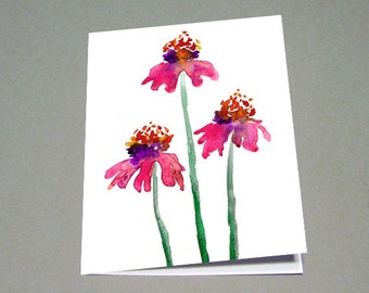 Echinacea Watercolour Greeting Card - Reproduction Art Card