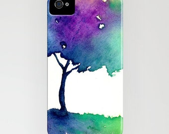 iPhone 7 Case Watercolor Case Hue Tree Painting Cell Phone Cover - Designer iPhone Samsung Case