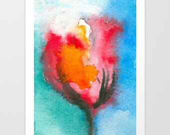 Watercolor Painting - Tulip Abstract Art Print