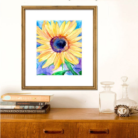 Art Print - Sunflower Floral - Watercolor Painting