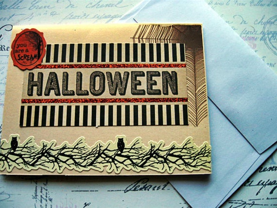 Halloween Primitive Greeting card Blank by Vampiregothchick Goth Dark Romantic