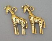 Gold giraffe charms, antiqued gold, qty 2, lead safe pewter