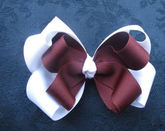 2514 Aggie maroon and white double boutique bow