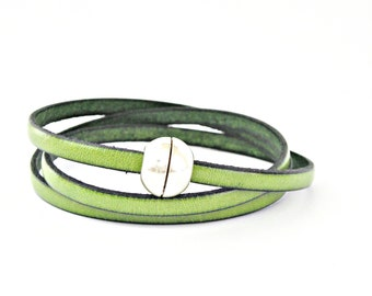 Green apple triple wrapped leather bracelet with sphere magnetic clasp