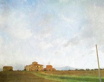 Tuscany landscape photography, farm fields, rustic, rural, countryside, cloudy sky, summer, Italy photograph, large wall art, fine art photo