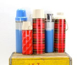 Thermos Collection-Set of 5-Plaid Blue Retro