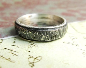 Rustic Sterling Silver Men's Band, Hammered Tree Bark Texture, Comfort Fit, Domed, Oxidized... 5mm