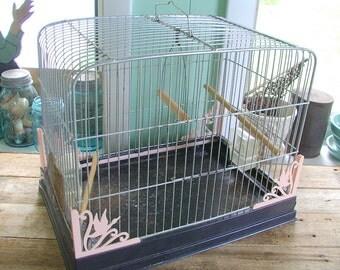 METAL wire BIRDCAGE w/ original PINK plastic corner decorations Studio Prop 1950s