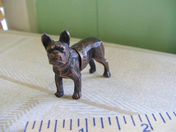 darling copper toned metal dog figurine Sprinfield Illinois souvenir