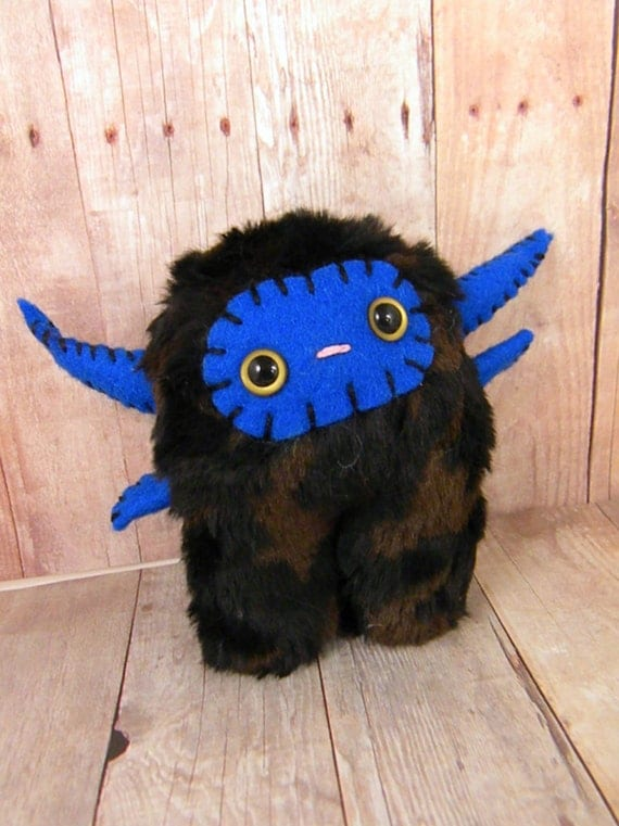 Truman the plush monster miniature brown black royal bluestuffed animal