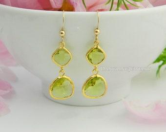 Peridot Dangle Earrings, Gold Bridesmaid Jewelry, Drop Earrings, Wedding Jewelry, Bridesmaid Earring, Mother's Jewelry, Bridesmaid Gift Idea