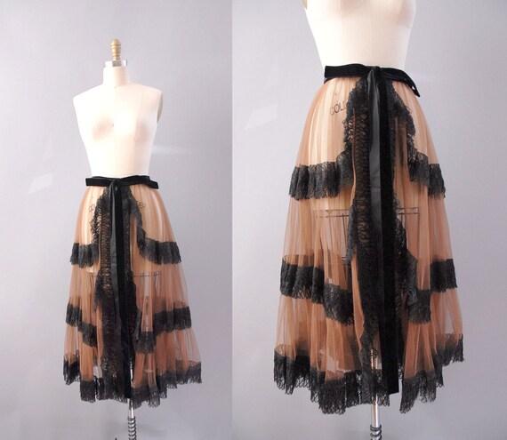 r e s e r v e d 1950s Skirt / 50s Tulle Wrap Skirt / Velvet