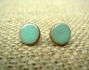 Pottery Post Earrings- Mint Green