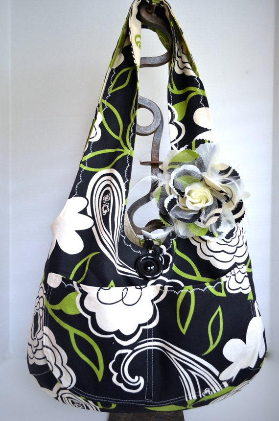 Reversible Large Hobo Bag Mod Black and Green Contrasting Floral Print With Rose Hair Clip