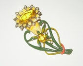 Vintage Book Piece Rhinestone Enamel Flower Brooch