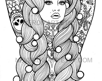Digital Download Print Your Own Coloring Book Outline Page - Star Burst by Carissa Rose