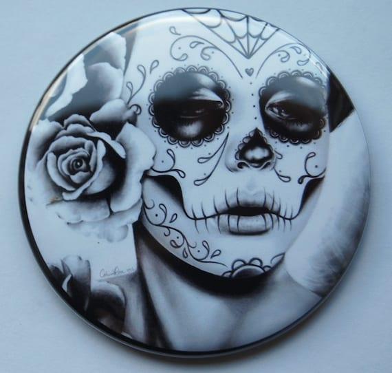 2.25 inch Pocket Mirror - Day of the Dead Sugar Skull Girl - Felicity