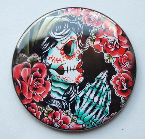 2.25 inch Pocket Mirror - Dia De Los Muertos Praying Sugar Skull Gypsy