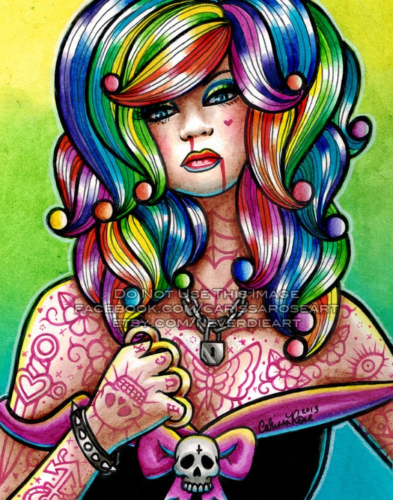 Limited Edition 3 out of 25 Apprx 11x14 in Art Print - Hard Candy 4 - Pin Up Girl With Rainbow Hair