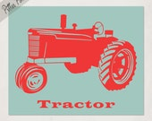 Tractor Print from my Transportation Series, boys nursery wall art print, Pick Your Own Colors, size 8x10
