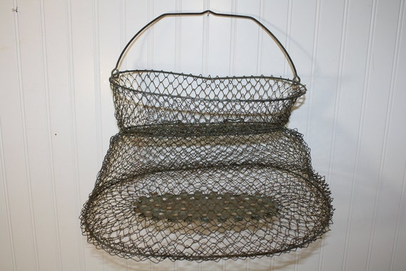 inox oval fishing basket made in france by auctionjunkies on etsy. Black Bedroom Furniture Sets. Home Design Ideas