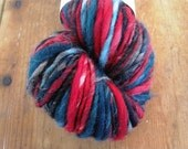 RED STORM Handspun Single Ply Skein Merino Wool Yarn Red Blue Black White 102 Yards
