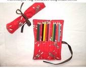 Red Sock Monkey Pencil Roll 5 slot Holder - Holds 10 Pencils