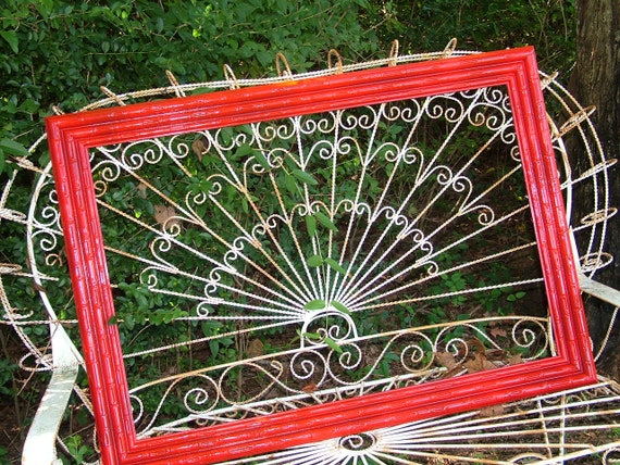 FAUX Bamboo RED Large Wall Mirror 41 1/2 x 29 1/2 Thick 5 1/2 inch FRAME or Choose Color