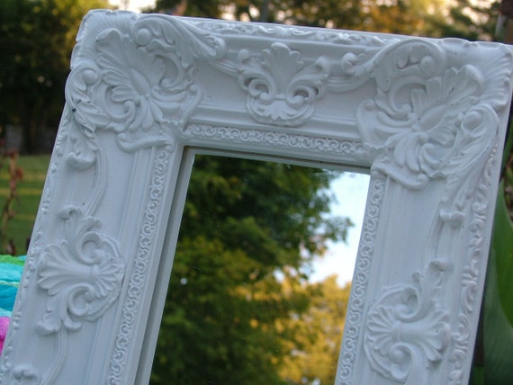 Shabby Chic Mirror Choose Color or White as Shown Very Ornate Mirror or Picture Frame Baroque Style  8 x 10 Mirror is a 4 x 6