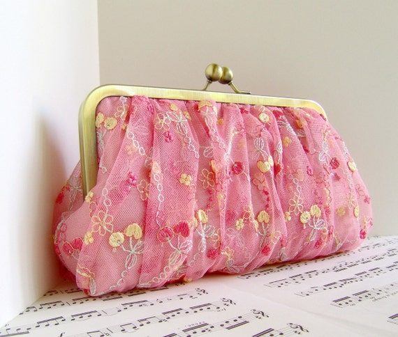 Gathered pink lace clutch purse. Silk and lace clutch bag. Lace fashion