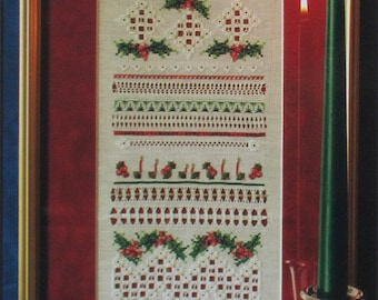 Holly and Candlelight - Hardanger and Counted Cross Stitch Chart by Needle Play Needlework Designs