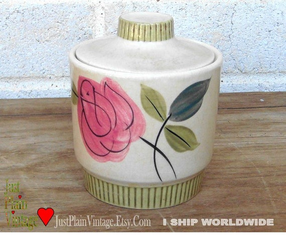 VTG Sugar Bowl and Lid / Hand Painted / Roxanne (price shown is 50% off thru Dec 31)