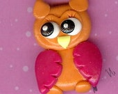 Neon Orange Owl Polymer Clay Beads and Bow Centers, Hair Bow Centers, Pendant, jewelry Charm