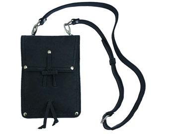 Leather Shoulder Pouch LARGE Satchel, Tote - Charcoal Black