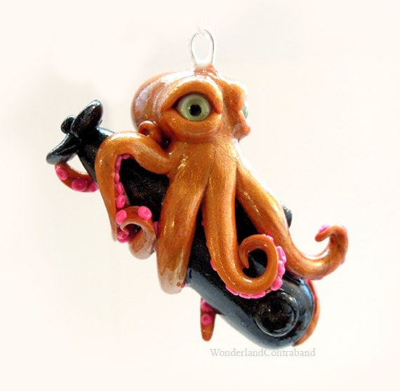 NEW - Octopus vs. Submarine - Pink, Gold and Black - Miniature Sculpture - Charm Pendant Ornament