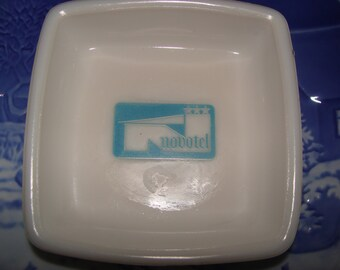 Vintage milk glass NOVOTEL ashtray Change Dish - Hotel Motel  Advertising Novotel blue Logo