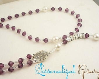 Design your own customized Rosary beads - huge selection of colors & and name or personalization
