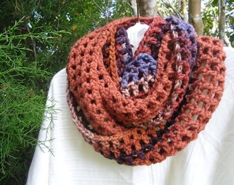 Cozy and soft  Infinity scarf in copper, browns, burgundy, and touch of blue