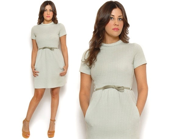 ON HOLD 60s Mini Dress Mint Green Knit Mod Shift Dress Short Sleeve Belted I Magnin / Preppy Mad Men Jackie O / S Small
