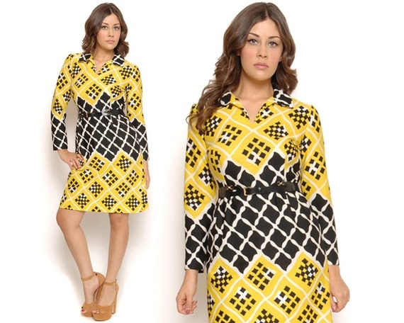 60s Mod Dress Black Yellow Op Art Midi Graphic Print Shift Dress Twiggy Long Sleeves Geometric Retro Shirtdress / Size S M Small Medium