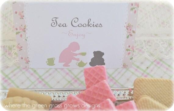 Teddy Bear Tea Party Table Food Signs