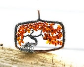 Bonsai Amber Tree of Life Pendant, Taurus Birthstone, Rust, Burnt, Family,Mother, Fall, Autumn