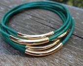 Set of 7 - Deep Aqua Leather Bangles with Gold Tube Beads