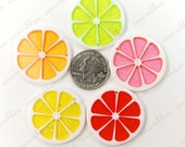 35mm Glitter Citrus Lemon Fruit Slice Resin Pendants Charms - 5/10/20/50 Pieces D18