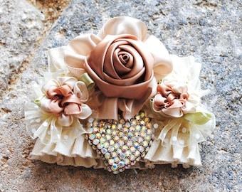 Sale Womans Crystal Heart Beige Ivory Cream Handsewn Stretch Cuff Bracelet