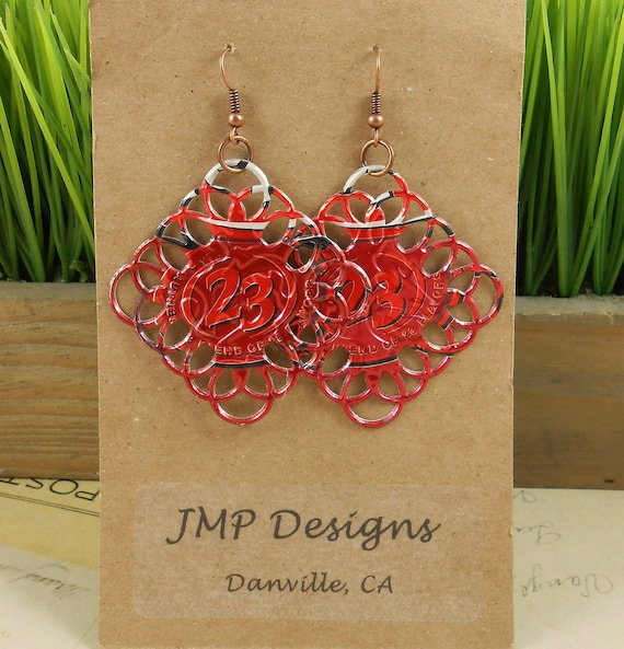 Dr. Pepper Metal Lace Diamond  Earrings.  DOUBLE-sided.  Recycled Soda Can Art.  23 Flavors. Dangle & Drop Earrings.