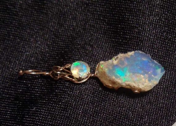 For Bri Leue:  Faceted and Raw Ethiopian Opal (.25 ct and 4 ct) Pendant in 14k Yellow Gold